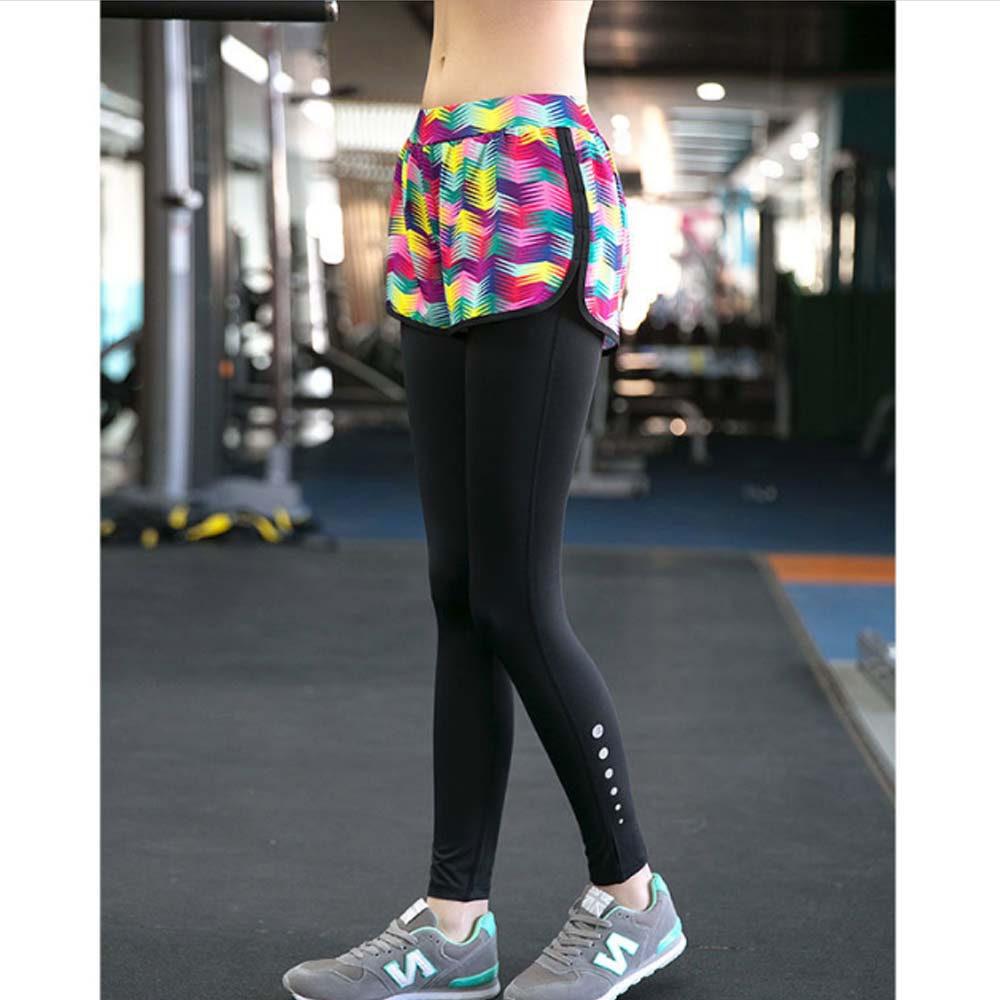 Fake Two Pieces Yoga Pants Fast Dry Gym Jogging Sport Trousers