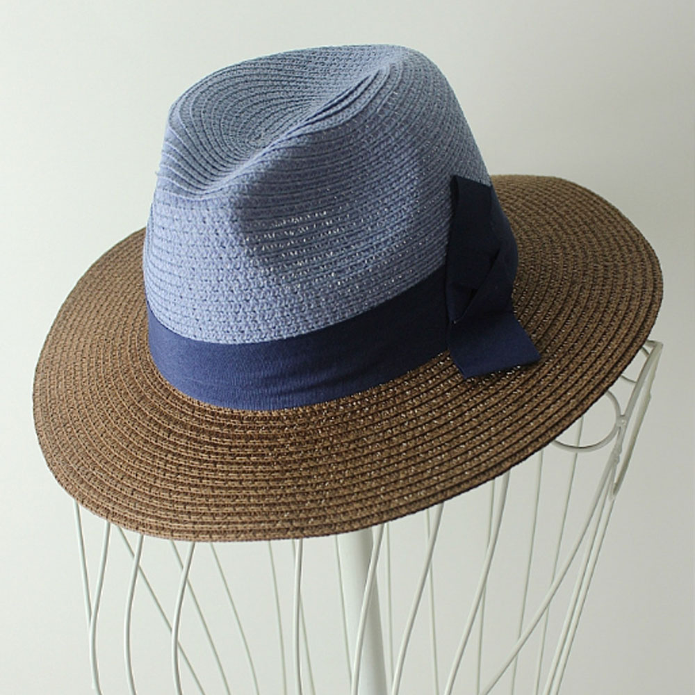 Korea Style Women Blue and Coffee Contrast Color Bowknot Straw Hat Sunhat