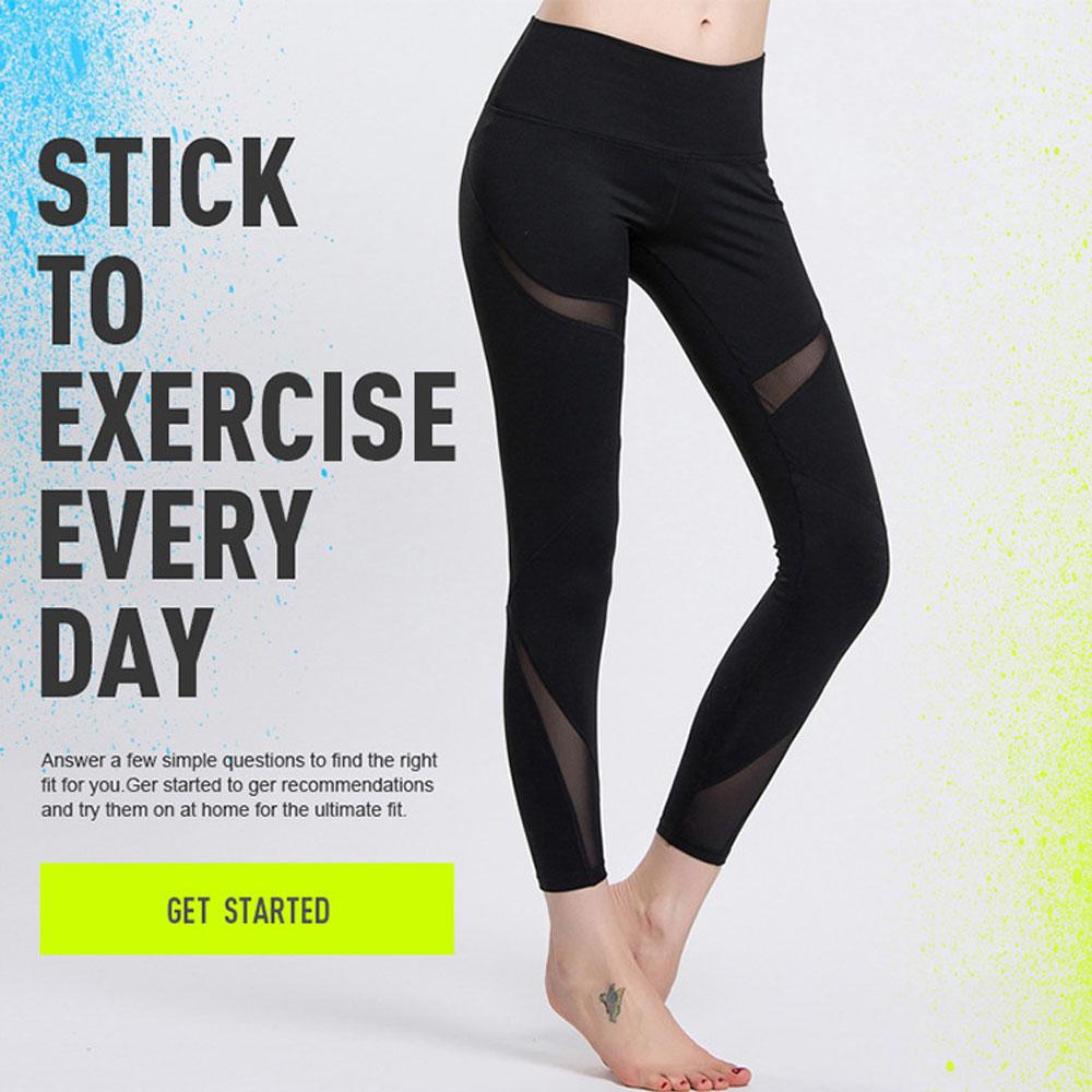 2016 New Women Yoga Sports Gym Ninth Pants Elastic Jogging Pants